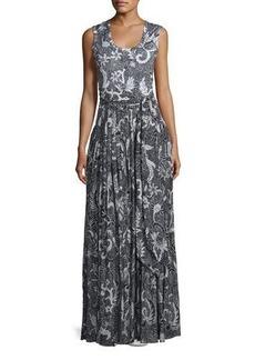 Diane von Furstenberg Floral-Print Cotton-Silk Sleeveless Maxi Dress