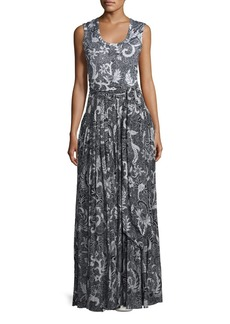 Diane von Furstenberg Floral-Print Cotton-Silk Sleeveless Maxi Dress
