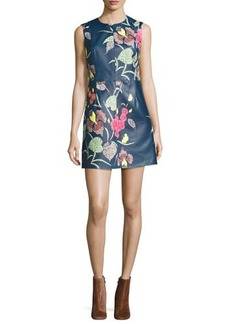 Diane von Furstenberg Floral-Print Leather Sleeveless Shift Dress