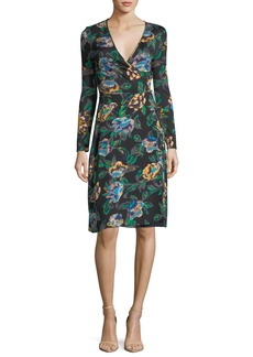 Diane von Furstenberg Floral-Print Long-Sleeve Side-Tie Wrap Dress