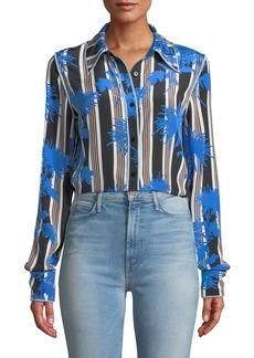Diane von Furstenberg Floral-Print Long-Sleeve Silk Shirt