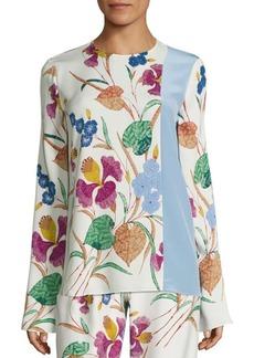 Diane von Furstenberg Floral Print Silk-Blend Blouse