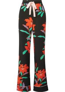 Diane Von Furstenberg Floral-print Silk Crepe De Chine Straight-leg Pants