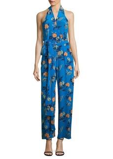 Diane von Furstenberg Floral-Print Silk Halter Jumpsuit