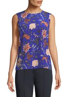 Diane Von Furstenberg Floral-Print Sleeveless Silk Shell Top