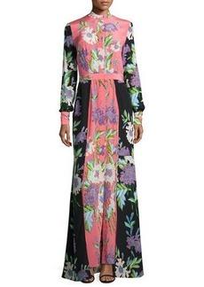 Diane von Furstenberg Floral-Print Slit-Front Silk Maxi Dress