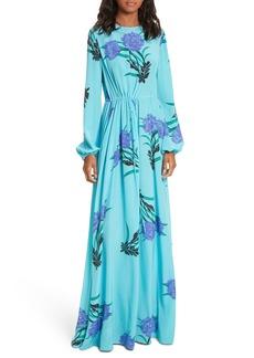Diane von Furstenberg Floral Print Stretch-Silk Maxi Dress