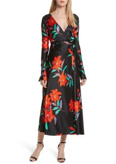 Diane von Furstenberg Floral Print Wrap Silk Dress