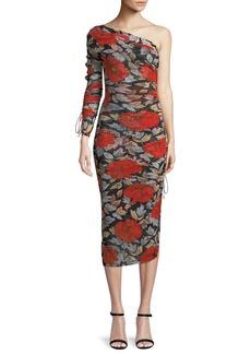 Diane von Furstenberg Floral Ruched One-Sleeve Cocktail Dress