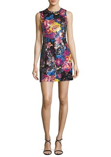 Diane von Furstenberg Floral Sequin Sleeveless Mini Dress