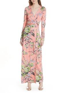 Diane von Furstenberg Floral Shawl Collar Silk Wrap Dress