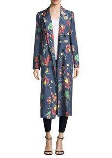 Diane Von Furstenberg Floral Silk Floor-Length Jacket