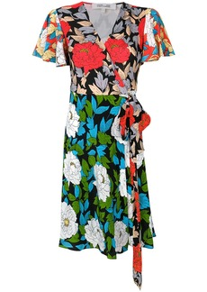 Diane Von Furstenberg floral wrap front dress - Black