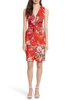 Diane von Furstenberg Floral Zip Front Stretch Cotton Sheath Dress