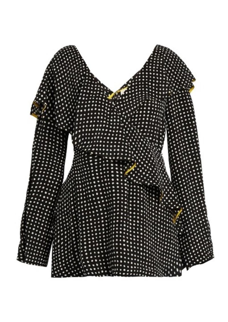 Diane Von Furstenberg Fluted-lapel polka-dot print wrap silk blouse
