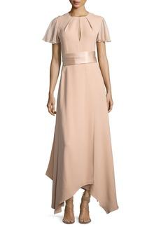Diane von Furstenberg Flutter-Sleeve High-Neck Gown