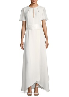Diane von Furstenberg Flutter-Sleeve High-Neck Gown