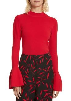 Diane von Furstenberg Flutter Sleeve Mock Neck Sweater