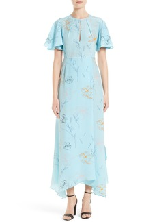 Diane von Furstenberg Flutter Sleeve Print Silk Maxi Dress