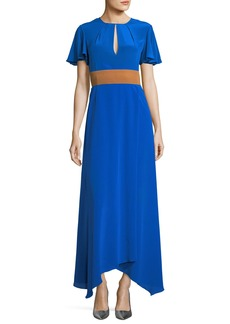 Flutter-Sleeve Split-Front Silk Evening Gown