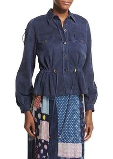 Diane von Furstenberg Frankie Suede Button-Front Jacket