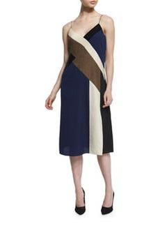 Diane von Furstenberg Frederica Colorblock Silk Slip Dress