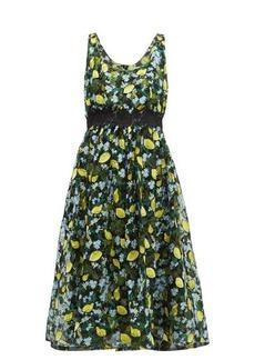 Diane Von Furstenberg Freeda lemon-embroidered tulle dress