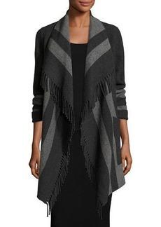 Diane von Furstenberg Fringe-Trimmed Striped Wool-Blend Wrap