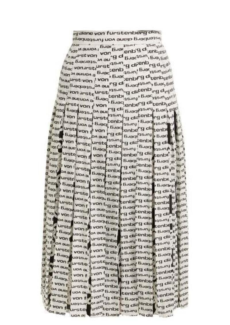 Diane Von Furstenberg Gardena logo-print pleated silk skirt
