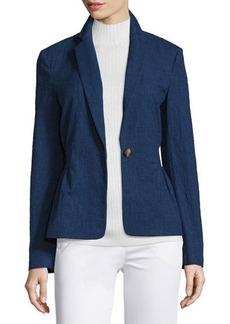 Diane von Furstenberg Gavyn Chambray Single-Button Blazer