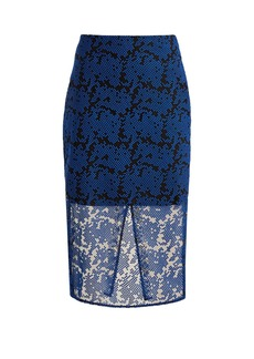 Diane Von Furstenberg Geometric-embroidered tulle pencil skirt