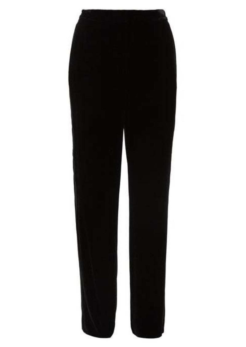 Diane Von Furstenberg Georgina satin-stripe velvet wide-leg trousers
