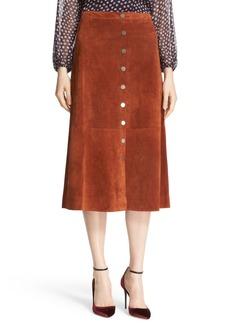 Diane von Furstenberg 'Gracelynn' Suede Midi Skirt
