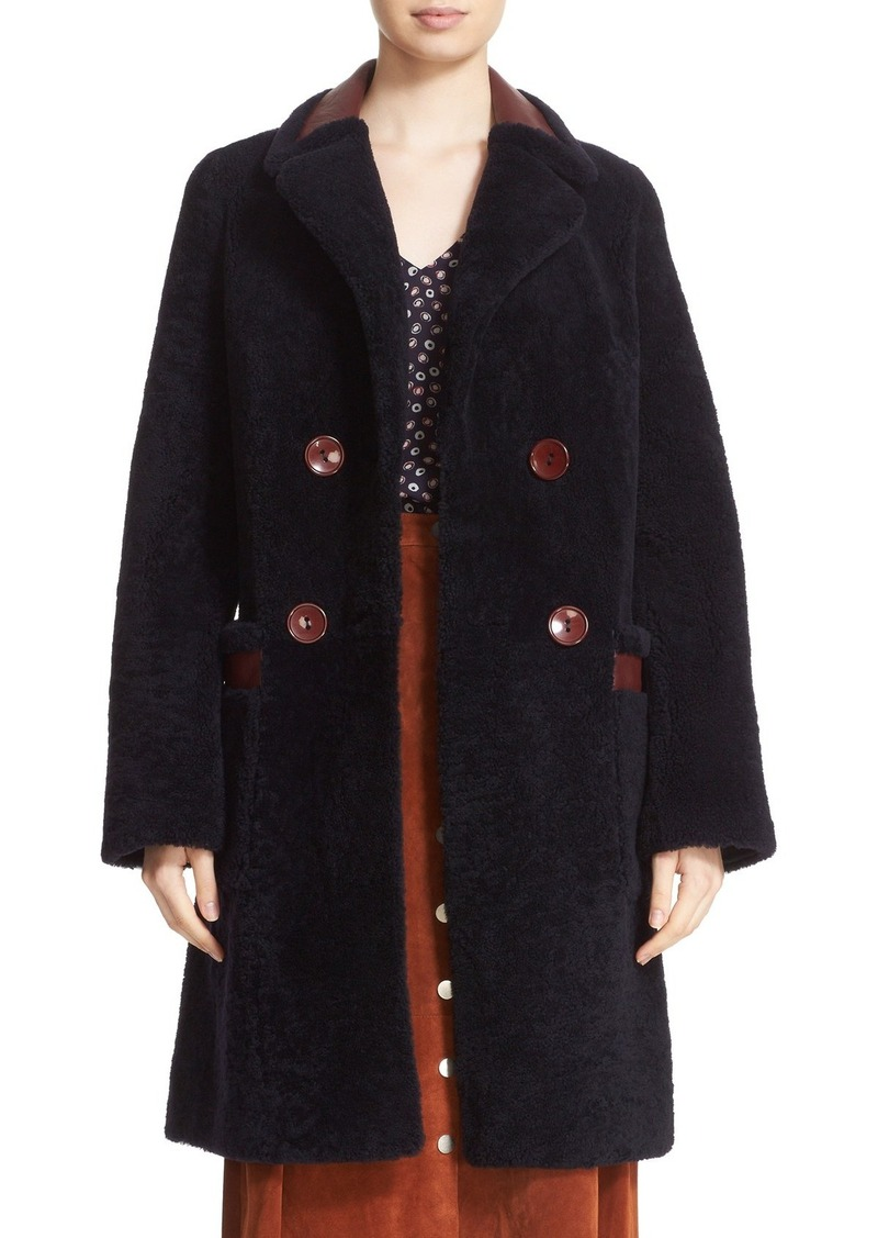 Diane von Furstenberg 'Grayson' Reversible Genuine Shearling Coat