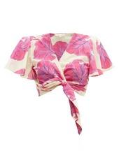 Diane Von Furstenberg Hailey floral-print cotton-blend wrap top