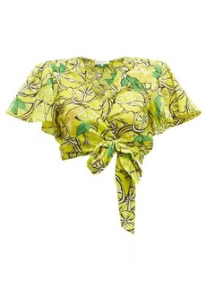 Diane Von Furstenberg Hailey lemon-print cotton-blend wrap top