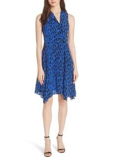 Diane von Furstenberg Handkerchief Hem Floral Silk Dress