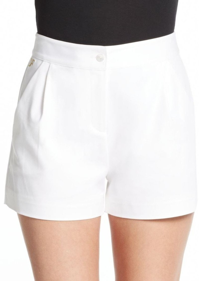 Diane von Furstenberg Hattie Pleated Stretch Cotton Shorts