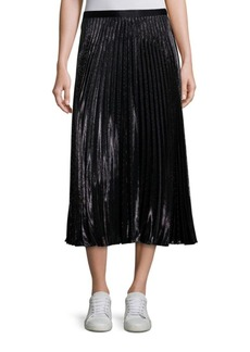 Heavyn Metallic Pleated Midi Skirt