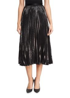 Diane von Furstenberg Heavyn Metallic Plissé Midi Skirt