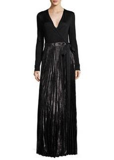 Diane von Furstenberg Heavyn Metallic-Skirt Maxi Wrap Dress