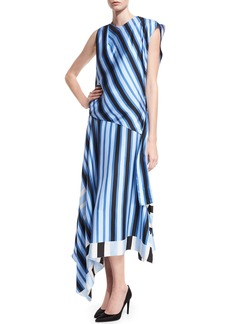 Diane von Furstenberg High-Neck Cap-Sleeve Bias-Cut Striped Satin Maxi Dress