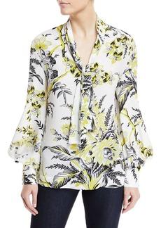 Diane von Furstenberg High Neck Floral-Print Silk Blouse