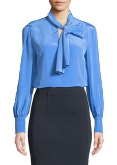 Diane Von Furstenberg High Neck Long-Sleeve Silk Bow Blouse