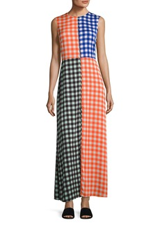 Diane von Furstenberg High-Neck Sleeveless Check Maxi Dress