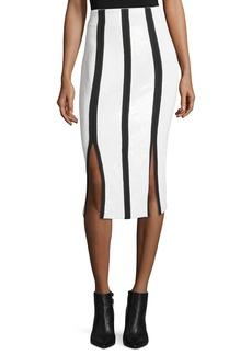 Diane von Furstenberg High-Waist Striped Fitted Sequined Pencil Skirt