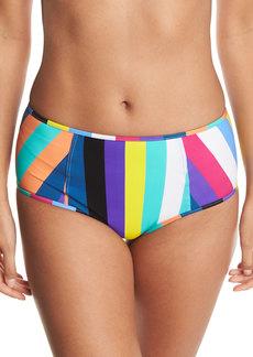 Diane von Furstenberg High-Waist Striped Swim Bikini Bottoms