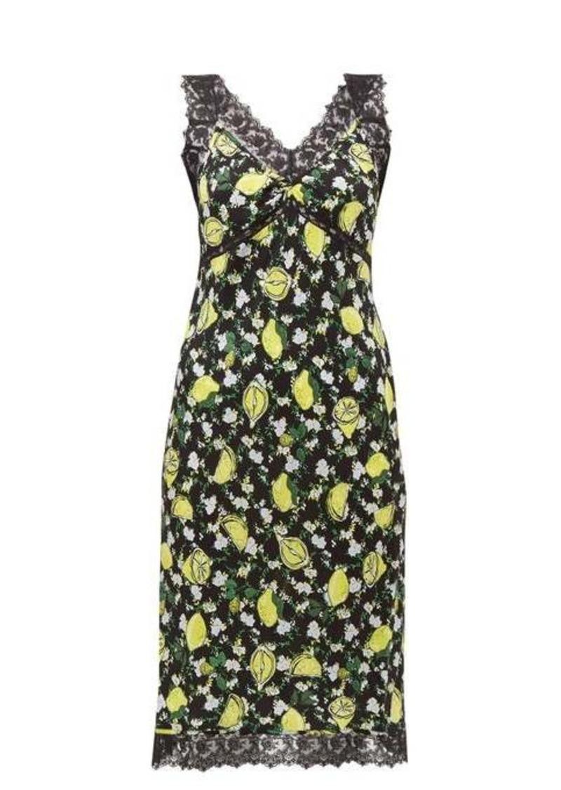Diane Von Furstenberg Issey lemon-print lace-trim silk dress