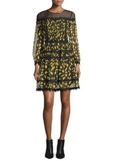 Diane von Furstenberg Jamie Lace-Yoke Printed Chiffon Dress