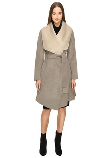 Diane von Furstenberg Jenna Double Face Wool Two-Tone Wrap Coat
